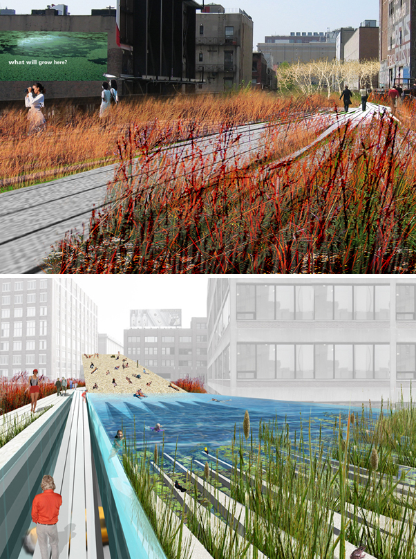 The future park, two stories above Manhattan's industrial West Side, may provide residents and visitors with points for cultural and commercial activities at Chelsea Market or pools of water for more recreational uses.