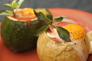 Eight-Ball Zucchini with Eggs
